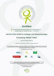 Zertifikat Präventionskurse Natalia Tretbar